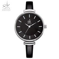 Shengke 10mm Black Leather Strap Wrist Woman Quartz Watch Casual Fashion Clock Womens Watches Ladies Wristwatch