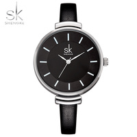 Shengke 10mm Black Leather Strap Wrist Woman Quartz Watch Casual Fashion Clock Womens Watches Ladies Wristwatch