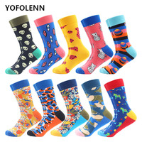 10 Pairs/Lot Fashion Men's Combed Cotton Casual Business Socks Novelty Alien Eye Pattern Cool Party Crew Funny Skateboard Socks