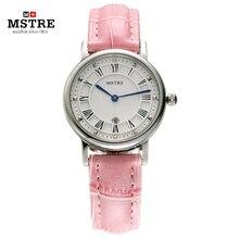 Марка Mstre мода свободного покроя платье женские часы женские кварцевые рим цифра наручные часы календарь кожаный ремешок водонепроницаемый 100 м