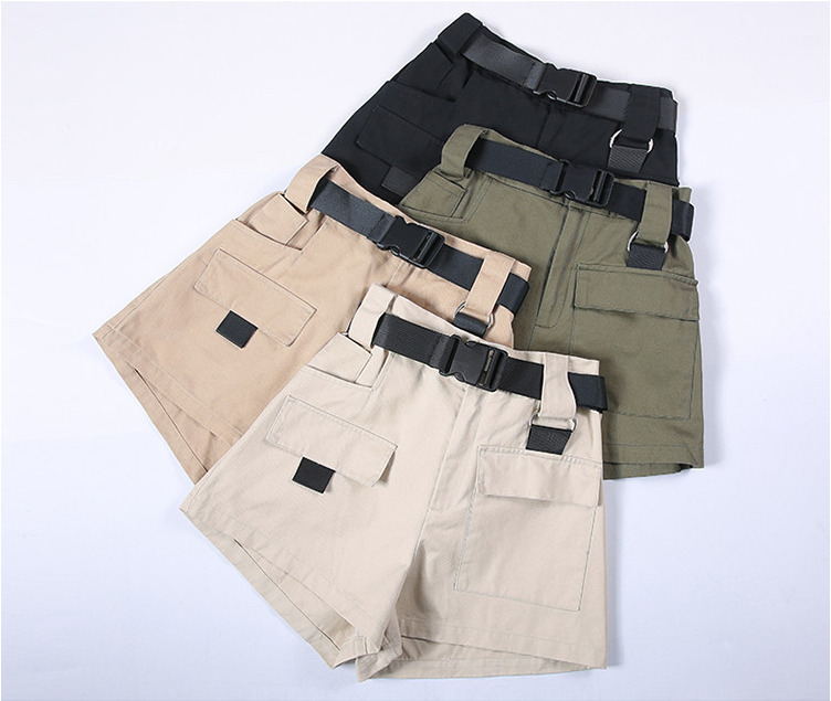 High Waist Wide Leg Cargo Women's Shorts Vintage Sashes Solid Khaki Pocket Women Shorts 2019 Summer Fashion NEW Plus Size