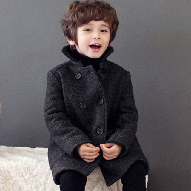 Kids Boys Wool Winter Coat Children Baby Woolen Coat Thick 2017 New Fashion Boys Wool Jackets Kids Outerwear Wool Hot Sale 4297