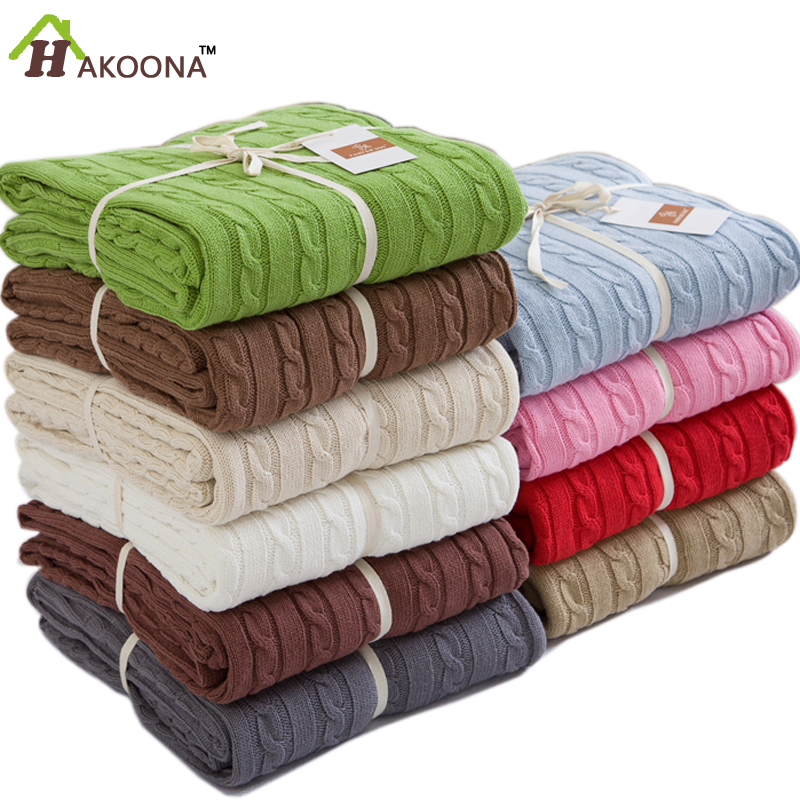 ФОТО HAKOONA  Solid Colour Summer Knitted  Blanket Adults Person 180*120cmQuilt Office Nap Single Blanket Sheets Queen Size For Bed