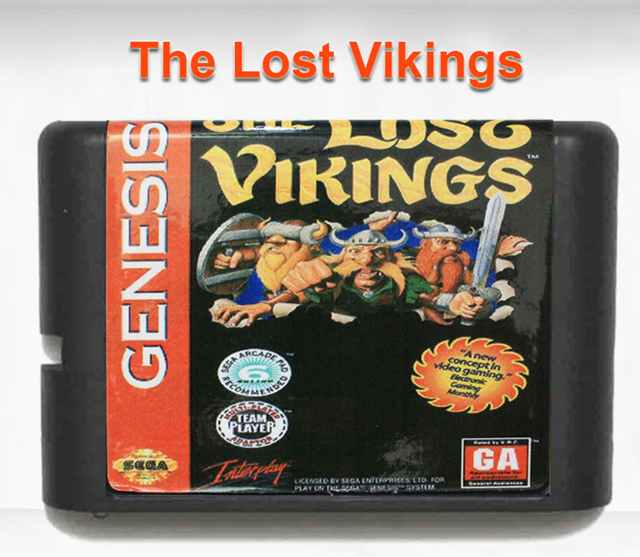 The Lost Vikings 16 bit MD Game Card for Mega Drive for Genesis EU/JP Shell