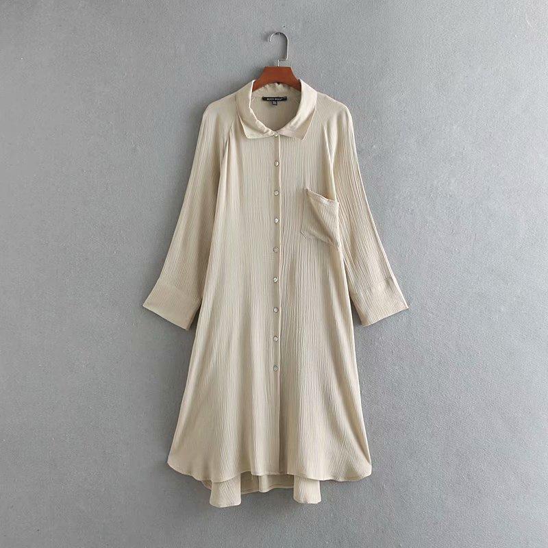 Robe en lin femme décontracté D'été Mince À Manches Longues Chemise Unie Bouton Plissé Robe De Mode Plage Ample Mi-mollet Robes