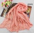 Primavera cachecol e inverno capa de algodão chiffon de seda cor sólida cachecol Scarf mulheres lenços