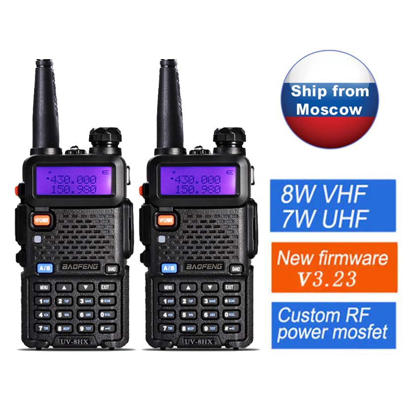 2pcs / lot UV-5R Baofeng 8W UV-8HX Dual Band VHF UHF Frekvens Bærbar baofeng uv-9r Amatørradio Camouflage UV-5R Walkie Talkie
