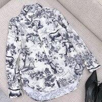С цветочным принтом Блузка для Для женщин с длинным рукавом шелк элегантные свободные Стиль элегантный Для женщин шелковая блузка 2018 Новый