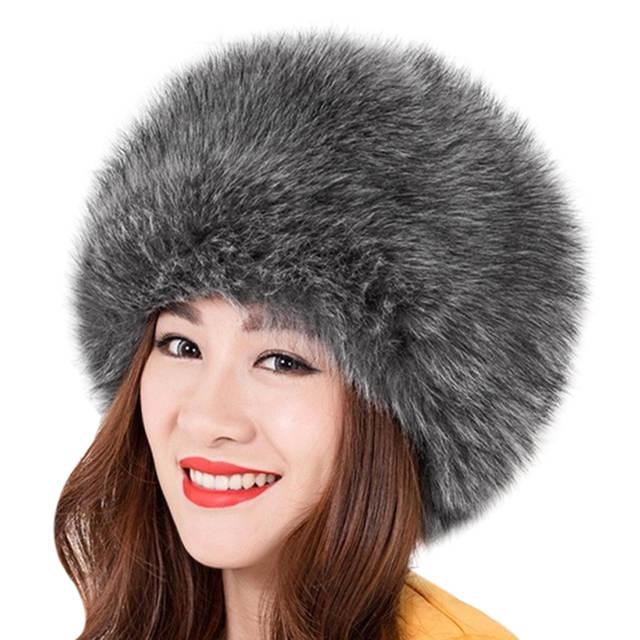 1964cc8fce0 Online Shop Super Warm Faux Fur Hat Women Winter Soft Fluffy Thick Hat  Womens Russian Cossack Beanies Cap Ladies Hats Femme F15