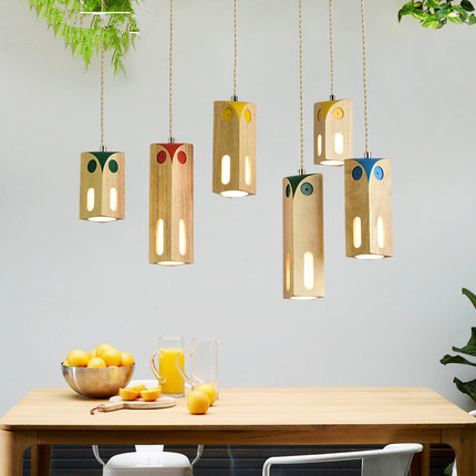Wooden LED Pendant Lights For Dining Room Colorful Children HangLamp Wood Lampshade Suspension Lighting Bulbs For FreeWooden LED Pendant Lights For Dining Room Colorful Children HangLamp Wood Lampshade Suspension Lighting Bulbs For Free