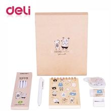 Deli creative cute stationery set for school kids gift supply A6 notebook gel pen normal pencil sharpener eraser correction tape