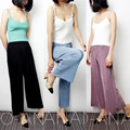 Women Fashion Solid Pleated Wide Leg Pants Elastic Waist Ankle-Length Wide Leg Pants Casual Pants Cool Autumn Trousers Women