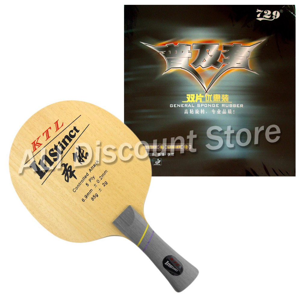 KTL Instinct Blade Shakehand with 2x RITC 729 General Rubbers for a Table Tennis Combo Racket Long Shakehand FL