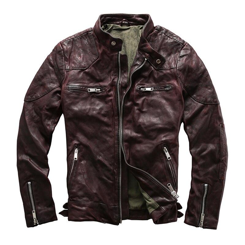 Прочитайте описание! Мужские азиатского размера; замша верхняя одежда мужская кожаная куртка из овечьей кожи винтажные куртка наездника