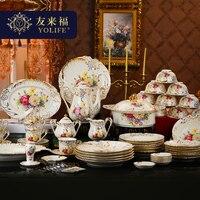Zarys Yolife Chiny Koreański projekt porcelanowe zestawy gospodarstwa domowego w złocie 72 sztuk zestaw filiżanka kawy naczynia obiad na ślub