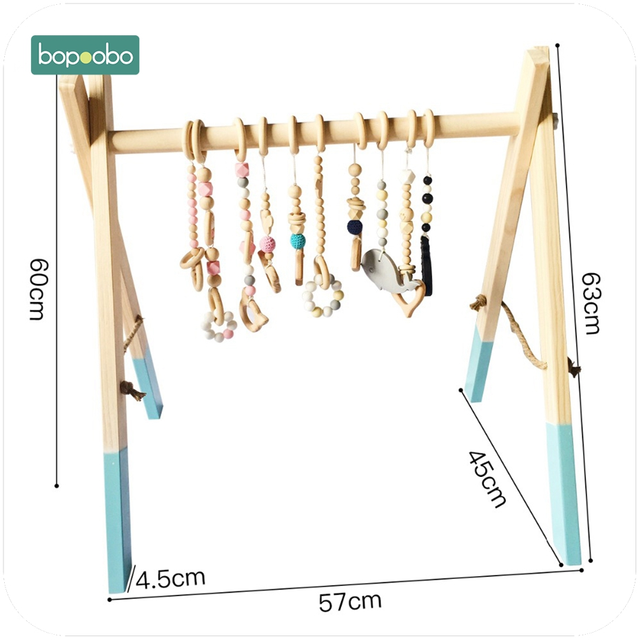 Image 3 - Bopoobo Classic Wooden Baby Gym Without Gym Toys Activity Gym Toy Accessories Montessori Rattles Nursery  Teether Shelf Portico-in Baby Teethers from Mother & Kids