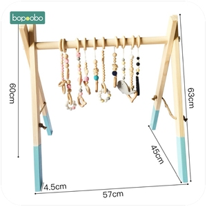 Image 3 - Bopoobo Classic Wooden Baby Gym Without Gym Toys Activity Gym Toy Accessories Montessori Rattles Nursery  Teether Shelf Portico