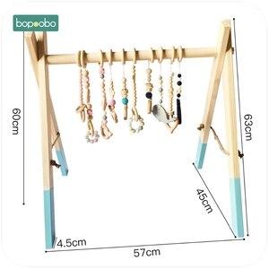 Image 3 - Bopoobo クラシック木製ベビージムジム活動ジムのおもちゃアクセサリーなしモンテッソーリガラガラ保育園おしゃぶり棚 portico
