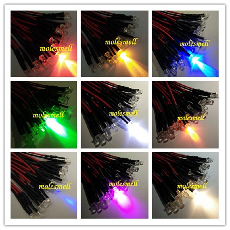 Precise 10pcs 3mm 5v Colorful Led Lamp Light Set Pre-wired 5v Dc Wired Led Red Yellow Blue Green White Orange Purple Pink Warm White Diodes Active Components