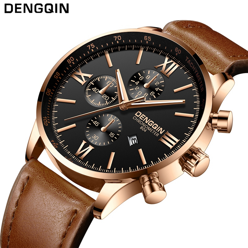 DENGQIN Top Brand Mens Leather Watch Fashion Watches Date Calendar Waterproof Quartz Wrist Watches Clock Male relogio masculinoDENGQIN Top Brand Mens Leather Watch Fashion Watches Date Calendar Waterproof Quartz Wrist Watches Clock Male relogio masculino