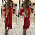 GZDL Sexy Women's Turtleneck Autumn Knitted Three Quarter Sleeve Zipper Split Solid Sheath Knee-Length Clubwear Dresses CL3310