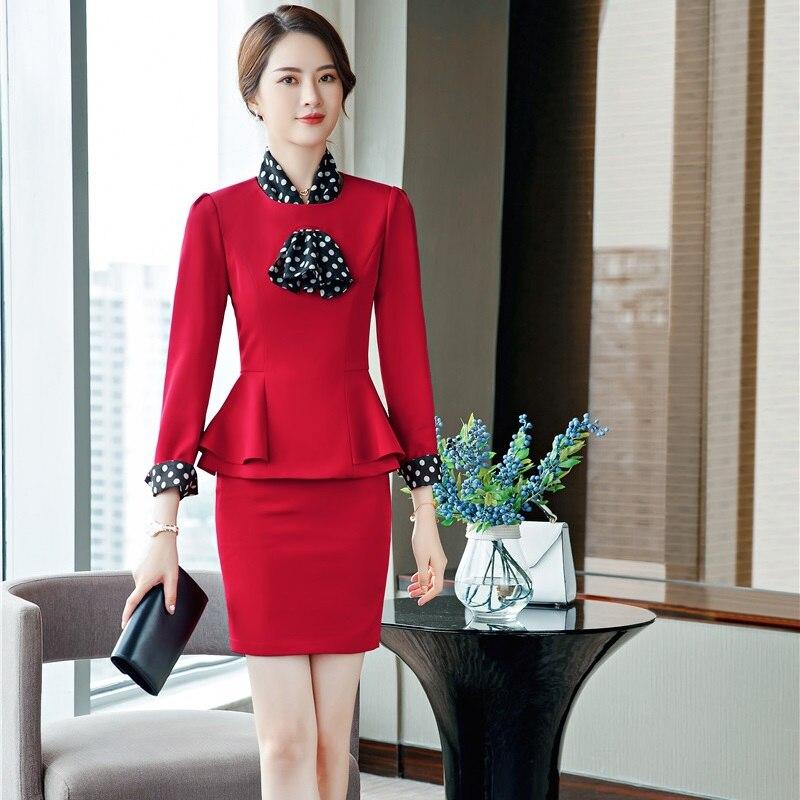 Mode uniforme Styles 2019 printemps automne femmes d'affaires costumes avec 2 pièces ensembles hauts et jupe élégant rouge jupe costumes avec écharpe
