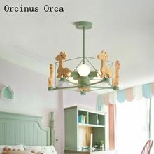 Скандинавский современный простой Жираф Люстра для мальчиков, для девочек в спальню детская комната лампа креативный персональный светодиодный потолочный светильник
