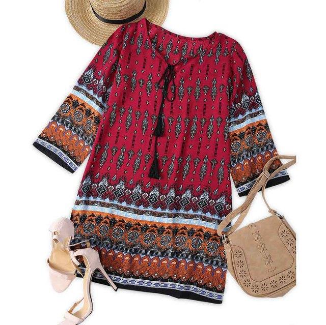 VESTLINDA Vintage Ethnic Print Summer Mini T Shirt Dress Women Bohemian Long Sleeve Party Dresses Boho Beach Dress
