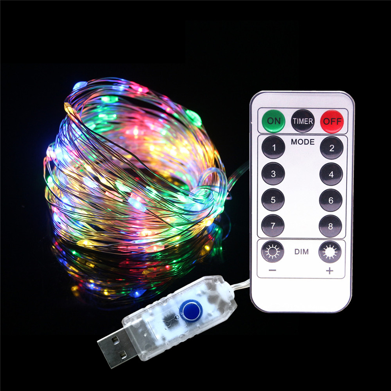 10 Meters 5V USB RGB LED String Lights 8 Modes Waterproof Christmas Lights Indoor Decoration Lighting Xmas Garland Fairy Light
