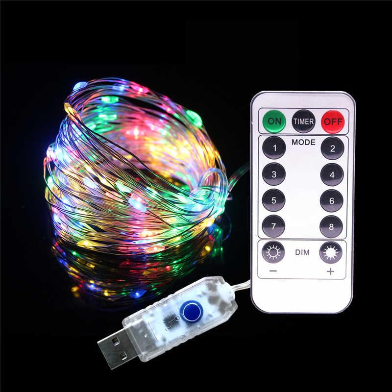 10 metros 5V USB RGB LED cadena luces 8 modos luces impermeables de Navidad decoración interior iluminación Navidad guirnalda Luz de hadas