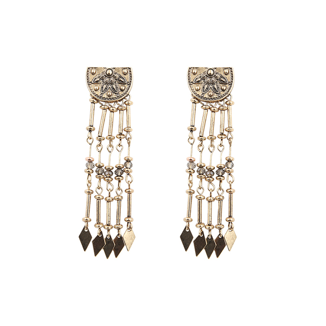 Earrings Women Vintage Brincos Bohemian Long Burnished Gold Color