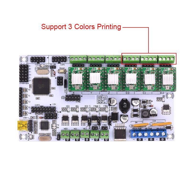 Rumba motherboard rumba MPU / 3D printer accessories RUMBA optimized version control Board For 3D printer geeetech newest reprap 3d printer control board rumba usb cable best choice for diy fans
