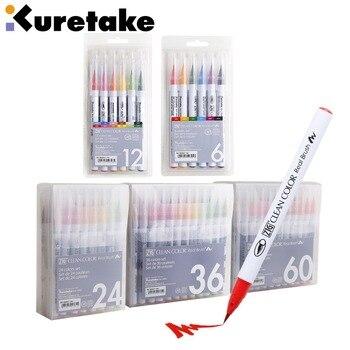 Kuretake RB-6000AT 4/6/12/24/36/60 colori ZIG colore pulito reale spazzola morbida testa acquerello pennello cartone animato disegno a penna di arte fornitori di beni