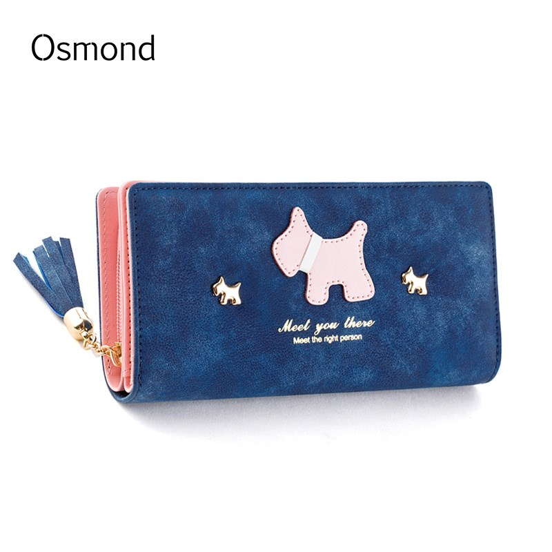 Osmond Women Wallets Leather Cute Dog Purse Tassel Long Wallets Scrub Ladies Wallet Zipper Coin Purses Puppy Credit Card Holder holly smale model misfit