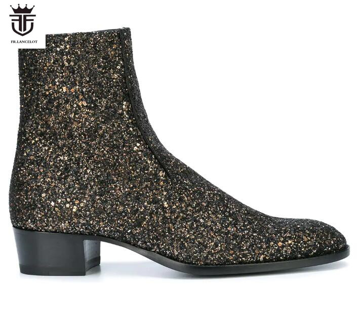 FR.LANCELOT 2018 New autumn men booties zip up Chelsea Boots sequin leather Ankle Boots Men's glitter black leopard Boots цена