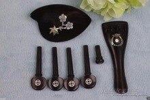 1set ebony 4/4 violin tailpiece Violin peg End pin chin rest nice inlay #706