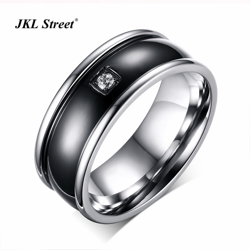 Hot Selling 9MM High Polished Stainless Steel Qulaity Black Plated Men Ring AAA Cubic Zirconia Men Cool Rings SIZE 7~12 SF-128