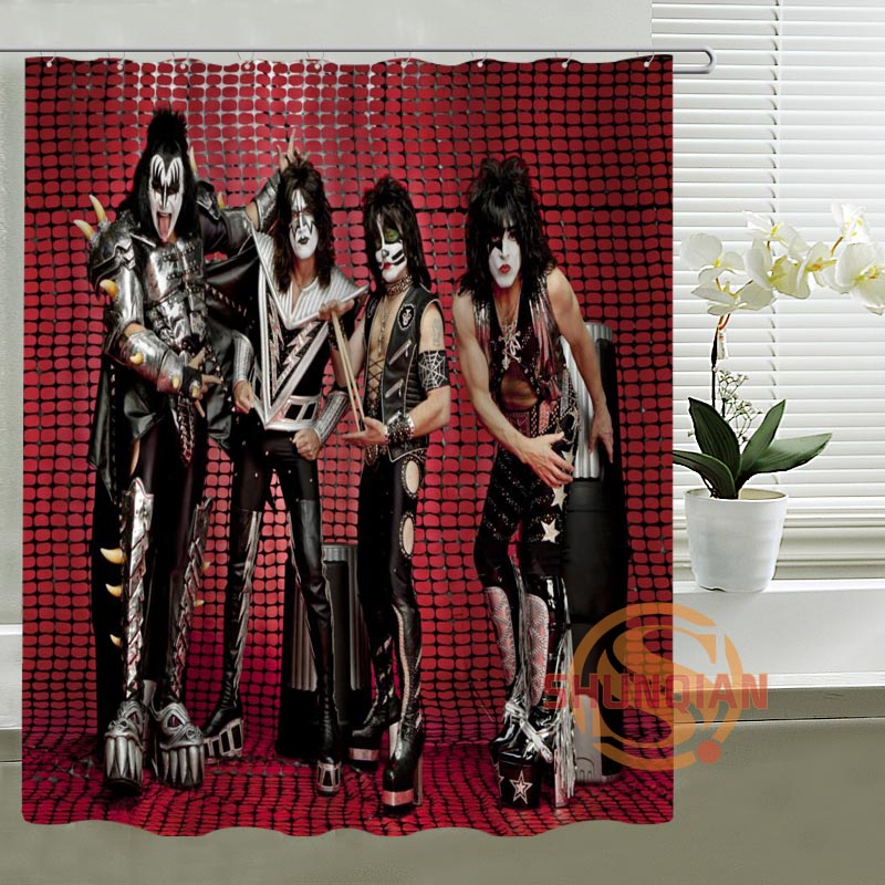 Aliexpresscom Buy Kiss Band Hot Sale Shower Curtain Custom Create