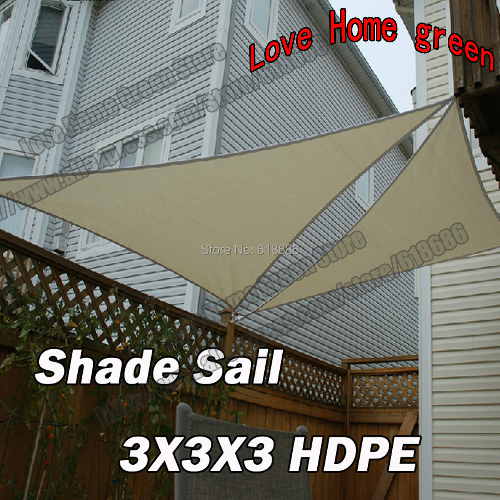 HDPE Triangular Sun Patio Shade Sail Combination Shade Net Awning Canopy  Garden Tent Canopy 3m X