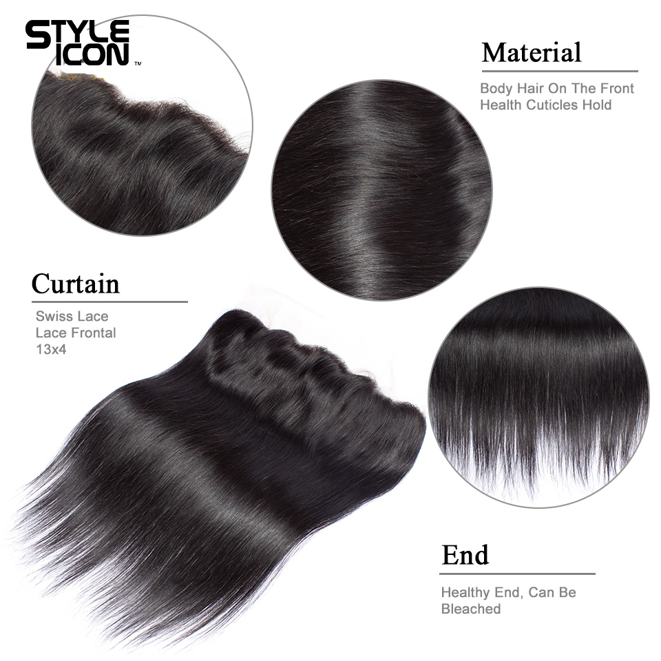 Styleicon Pre-Colored Peruvian Straight Hair Weave 2 3 4 Bundles With Frontal Closure Non Remy Lace Frontal Closure With Bundles