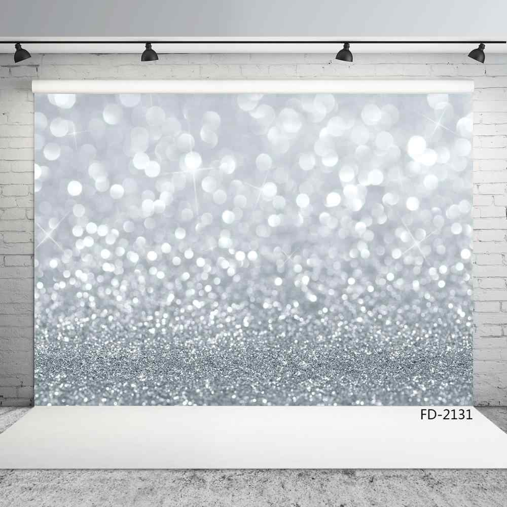 Silver Bokeh Glitters Portrait Children Photography Backgrounds Vinyl Photo Backdrops For Photo Studio Baby Shower Photobooth