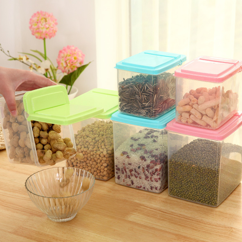 Hot Sale Kitchen Plastic Cereals Storage Box Half Flip Open Cover Sealed  Box Home Fridge Food Container Box In Storage Boxes U0026 Bins From Home U0026  Garden On ...