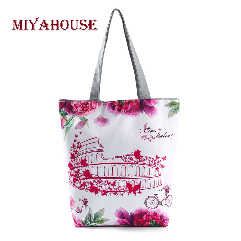 Lovely Floral Design Canvas Tote Handbags Women Casual Shoulder Shopping Bag Fashion Tower Printing Beach Bags Summer