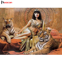 Huacan 5D DIY Diamond Painting Tiger Girl Cross Stitch Full Drill Pattern Resin Diamond Embroidery Mosaic
