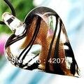 6 Unids/lote Corazón Lampwork Murano Colgante de Collar de Cordón de Oro Negro ELEGANTE