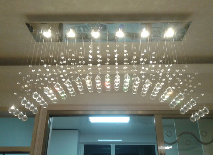 led modern simple lighting bar table lamp crystal chandelier arched partition curtain restaurant lamp stair lamp - Chandelier Table Lamp
