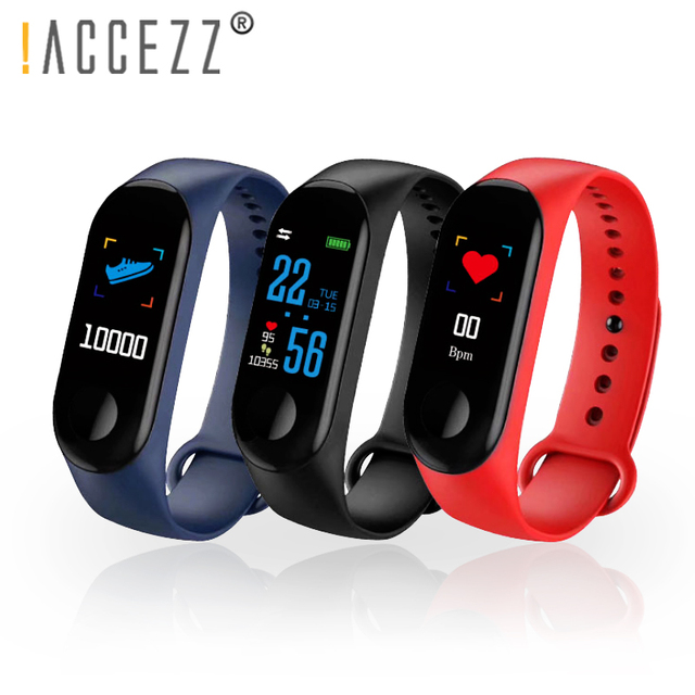 ! ACCEZZ חכם להקת צמיד לxiaomi לחץ דם מדידה צבעוני מסך M3 ספורט צמיד כושר Tracker עבור אנדרואיד