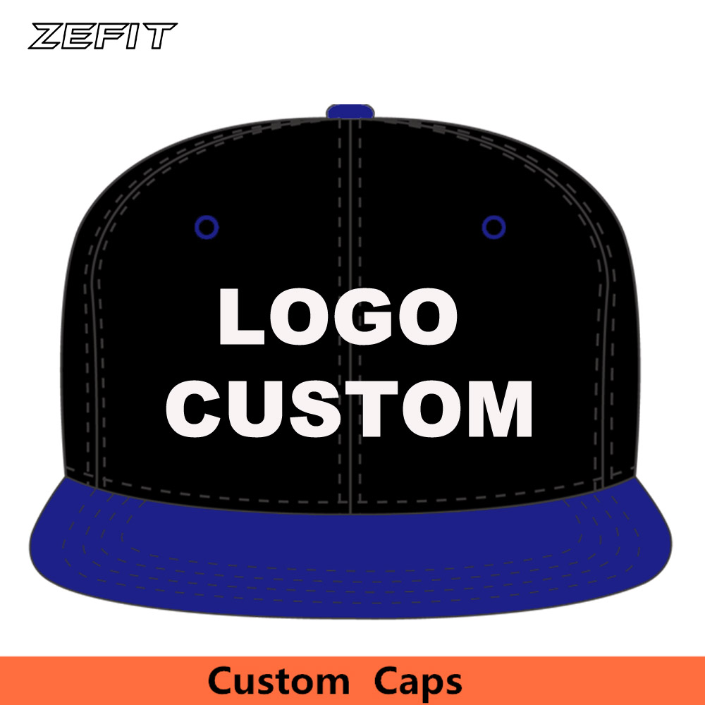 Custom Two-Tone Acrylic Snapback Snap Back   Baseball     Caps   6 panels OEM Raised Embroidery Printing Logo Flat Brim Adult Kids Hats