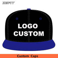 Custom Two-Tone Acrylic customize Snap back Baseball Caps 6 panels OEM Raised Embroidery Printing Logo Flat Brim Adult Kids Hats