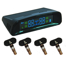 Solar Power Car TPMS Tire Pressure Monitor System 4 Internal Sensors with Wireless LCD color Display Tyre Security Alarm